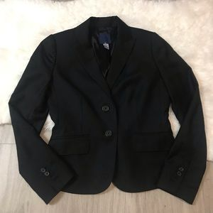 J Crew Super 120's 100% Wool Black Blazer Size 4